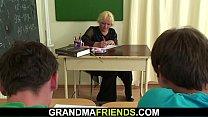 Blonde granny teacher double penetration