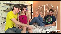 Lucky chap gets to play with 2 young and hot chicks Vorschaubild