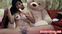 HEATHERDEEP.COM 16 week pregnant thai teen heather deep dido creamy squirt alone in the living room