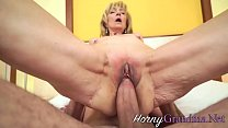 Blonde pensioner gets her pussy railed