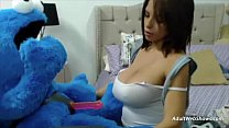 Pregnant ebony plays with Cookie Monster - AdultWebShows.com