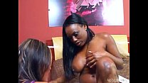 Interracial lesbians lick suck and squirt