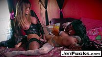 Great lesbian action with toys and two pairs of giant titties!