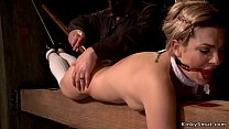 Babe hanged for ankles gets whipped thumbnail