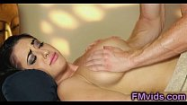 Gorgeous brunette fucked after massage