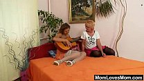 Unshaven amateur-mom gets toyed by perverse blond dame thumbnail
