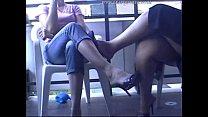 European sisters shoe dangling