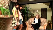 Old teacher shows her teen students how to kiss...