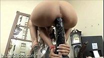 Amber Rayne rides huge black anal dildo