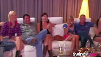 Horny mature couple taking a shot at swinging