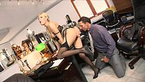 Perfect tight little asshole on stunning white secretary Donna Bell gets drilled hard image