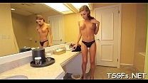 Hot guy likes to fuck the tranny and to play with her wang