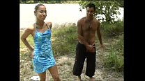 Hot amateur outdoor threesome with a brasilian shemale