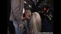 Two girls fucked by a stranger at the parking lot Preview
