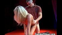 Horny blonde striper takes it deep thumbnail