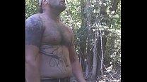 Outdoor shirtless cumshot, huge dick
