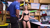 Teen shoplifter chick pays with a sloppy blowjob preview image