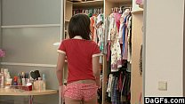 Little pigtailed asian puts her school clothes ... Thumbnail