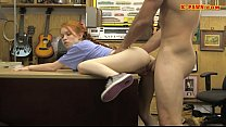 Skinny redhead drilled by nasty pawn guy in his pawnshop thumbnail