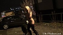Sexy voyeur evening outdoors with blonde amateur babe in lingerie flashing Preview