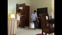 Desi indian asian girl in towel in front of cleaner boy Thumbnail