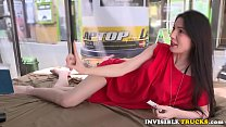 Amateur babe pussyfucked in public truck