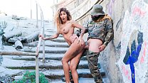 CHICAS LOCA - Curvy Latina bangs and blows soldier in public Thumbnail