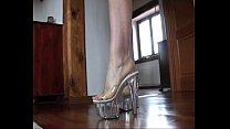 Slutty Blond #039;s Shoejob With Her Transparent Platform Heels