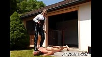 Horny domination fetish with tied up hottie get...