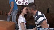 Euro beauty screwed after sucking cock
