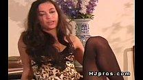 Sexy brunette teen in sheer black pantyhose image