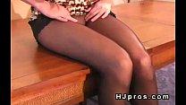Sexy brunette teen in sheer black pantyhose Vorschaubild