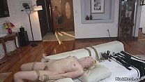 Blonde in bondage anal fucked and cummed
