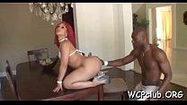 Big tit white playgirl is having interracial se... Thumbnail