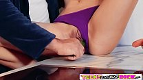 Teen Ariel Grace gets her shaved pussy rammed hard