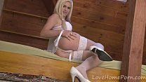 Sensational blonde in white lingerie has some fun - Download mp4 XXX porn videos