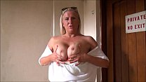 Mature flashing mum outdoors with sexy exhibitionist milf Jerry showing tits and image