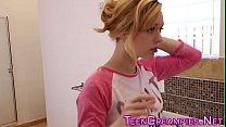 Showering teen creampied