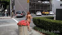 Nude in San Francisco:  Hot black teen walks around naked