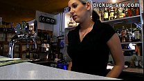 Barmaid European chick Lenka railed in the bar ...