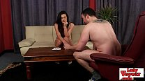 Cock loving lingerie lady watches jerk off