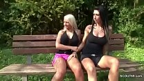 Two German Lesbian Teens Lick and Finger outside and Caught pornhub video