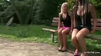 Two German Lesbian Teens Lick and Finger outside and Caught Vorschaubild