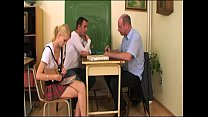 Schoolgirl screwed by teacher and classmate Thumbnail