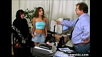 Pervert Old Boss Busty Teen And Mom Office Thre... Thumbnail