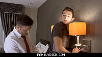 FamilyDick - Horny Stepdad Secretly Fucks His Boy's Tight Asshole In A Hotel Room