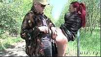 French redhead slut gets ass fucked in threesome outdoor video