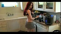 Liz Vicious stripping and sucking cock in the kitchen