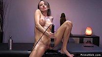 Oiled slut taking fucking machine image