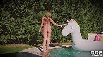 Must-see outdoors masturbation on a unicorn floatie with babe Tiffany Tatum